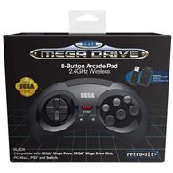 Controller Wireless Sega Mega Drive Black 8 Button Arcade Pad