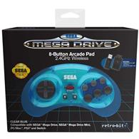 Controller Wireless Sega Mega Drive Blue 8 Button Arcade Pad