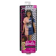 Jucarie Barbie Tone Graphic Dress Curvy Long Brunette Hair