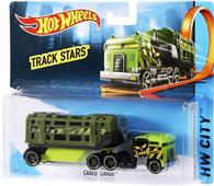 Jucarie Hot Wheels Track Stars Trailers Caged Cargo Green