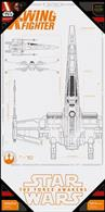 Poster Star Wars Episode 7 X-Wing Blue Print Glass