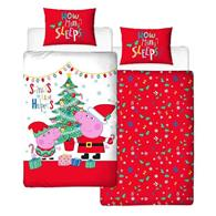 Set De Pat Peppa Pig Noel Xmas Single Panel Duvet