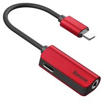 Baseus L32 Audio Adapter Lightning To Mini Jack 3.5Mm And Lightning - Red