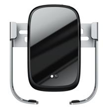 Car Holder For Baseus Rock-Solid Phone With 10W Wireless Charger (Silver)