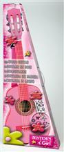 Chitara Din Lemn 75 Cm Roz Cu Stickere