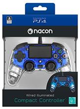 Controller Nacon Wired Illuminated Compact Light Edition Blue Ps4 imagine