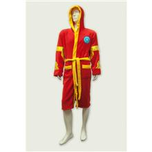 Halat Iron Man Marvel Red And Yellow Fleece Robe With Hood
