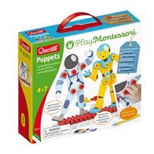 Joc Educativ Pentru Copii Quercetti Play Montessori 0614 Puppets Astronauti Cu Suruburi Si Piulite Si Suport Expunere