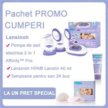 Pachet Promo Lansinoh Pompa De San Electrica 2 In 1 Affinityu2122 Pro + Lansinoh Hpau00AE Lanolin Crema X 40 Ml + Lansinoh Tampoane Pentru San X 24 Buc