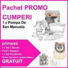 Pachet Promo Pompa De San Manuala + Gratuit Set 2 Bavete Pentru Alaptare + Set Recipiente Pentru Stocarea Laptelui Matern