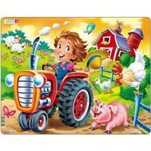 Poza Puzzle Copil La Ferma Pe Tractor 15 Piese Larsen