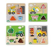 Puzzle Din Lemn Lena Pentru Copii 4 Piese Mari Tematic Vehicule