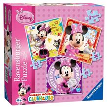 Puzzle Minnie Mouse 3 Buc In Cutie 25/36/49 Piese