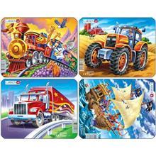 Set 4 Puzzle-Uri Pirati Tractor Camion Tren 8 Piese Larsen