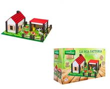 Set Constructie Copii Ferma Animalelor Globo Legnoland 37772 Cu Animale Incluse